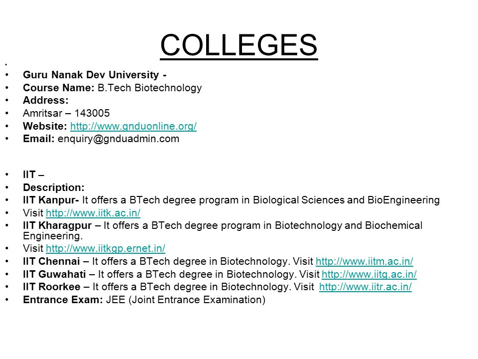 COLLEGES Guru Nanak Dev University - Course Name: B.Tech Biotechnology
