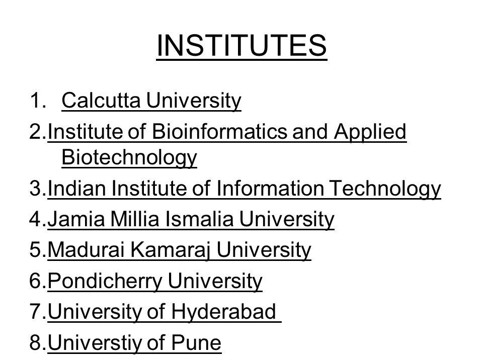 INSTITUTES Calcutta University