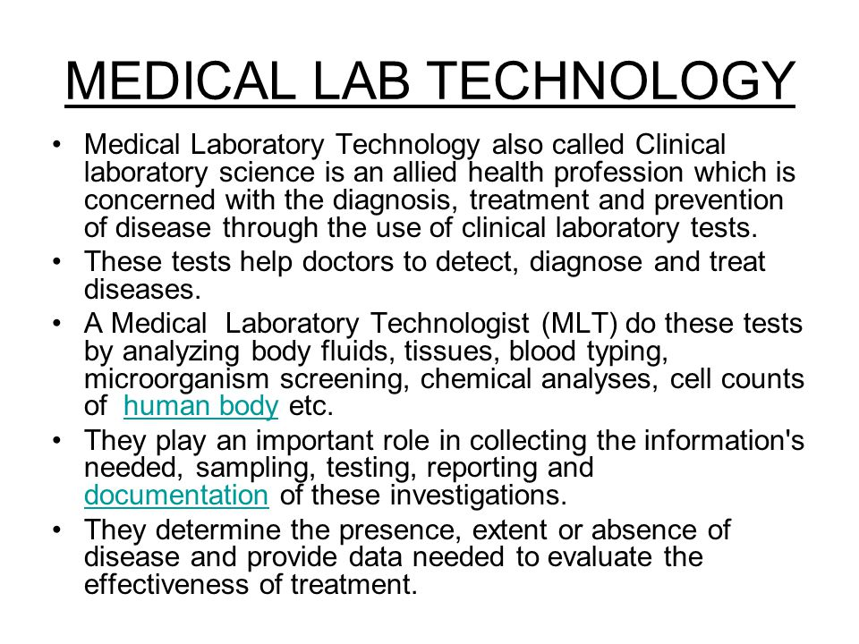 MEDICAL LAB TECHNOLOGY