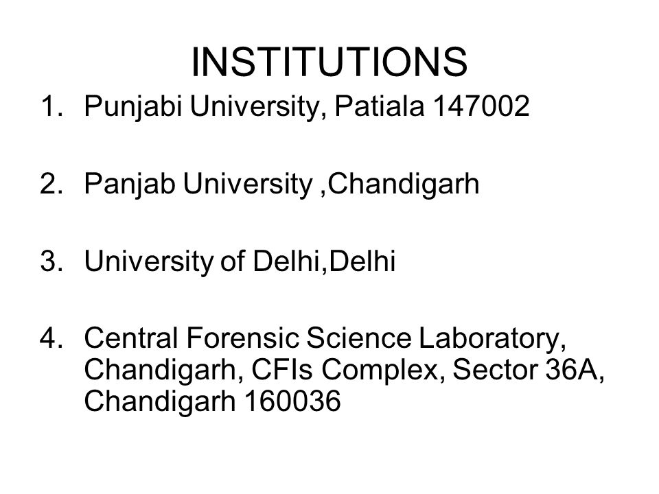 INSTITUTIONS Punjabi University, Patiala 147002