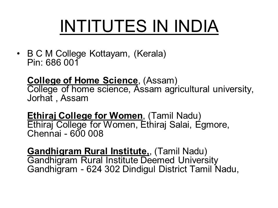 INTITUTES IN INDIA