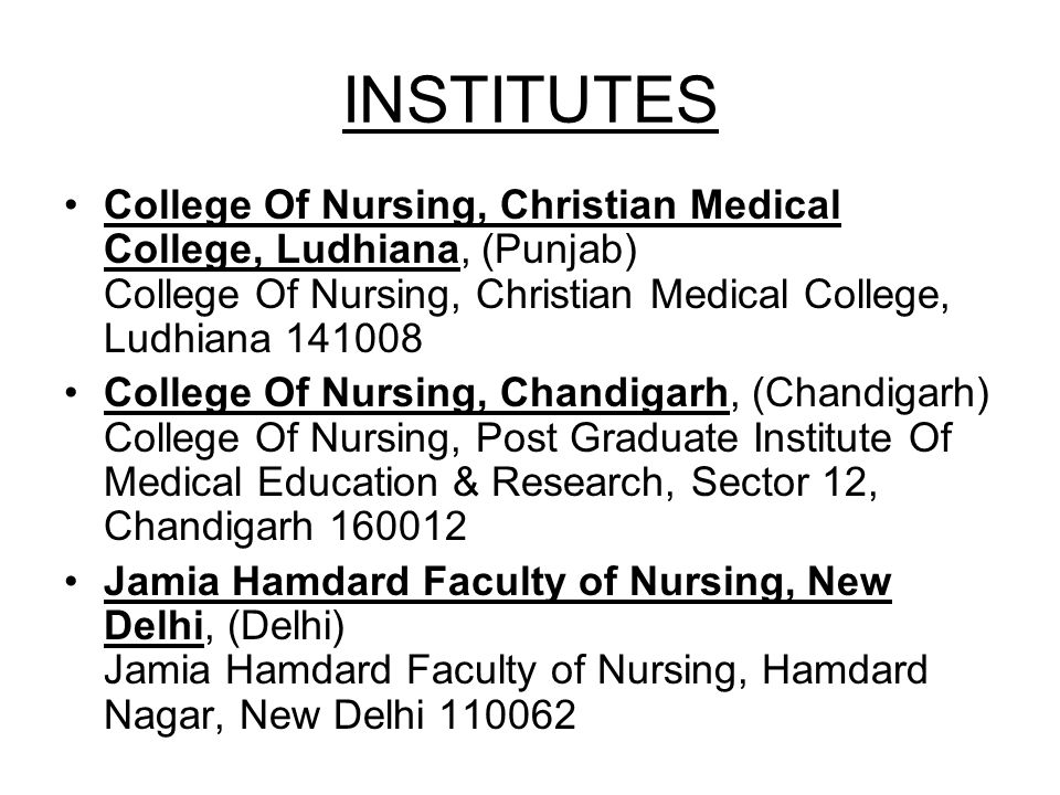 INSTITUTES College Of Nursing, Christian Medical College, Ludhiana, (Punjab) College Of Nursing, Christian Medical College, Ludhiana 141008.