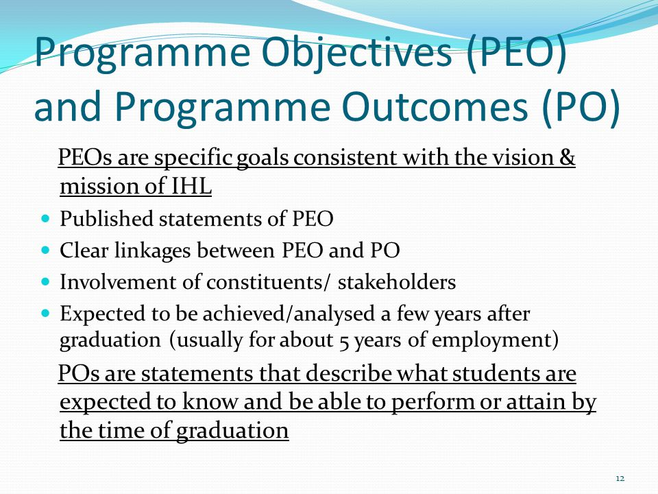 Programme Objectives (PEO) and Programme Outcomes (PO)