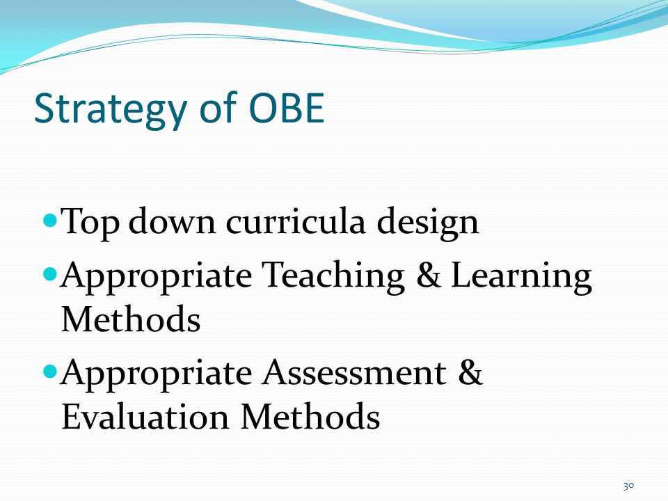 Strategy of OBE Top down curricula design