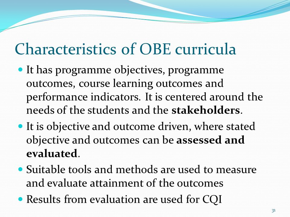 Characteristics of OBE curricula