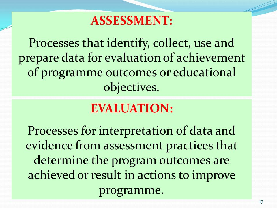 ASSESSMENT: Processes that identify, collect, use and prepare data for evaluation of achievement of programme outcomes or educational objectives.