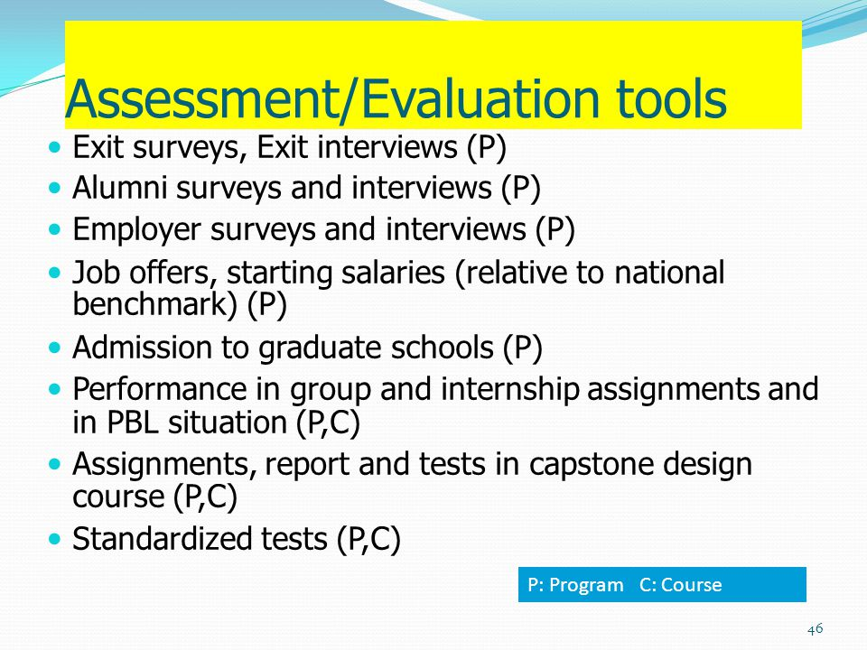 Assessment/Evaluation tools