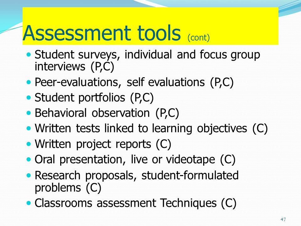 Assessment tools (cont)