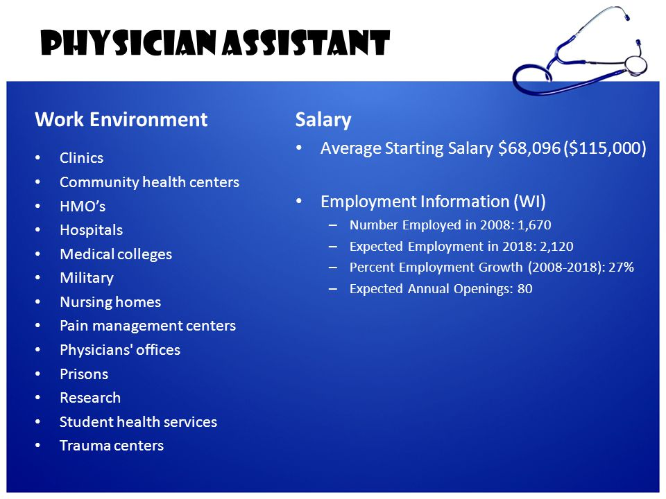 Physician Assistant Work Environment Salary