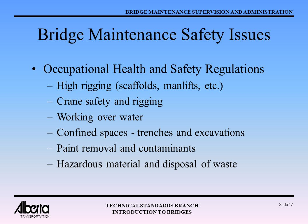 Bridge Maintenance Safety Issues