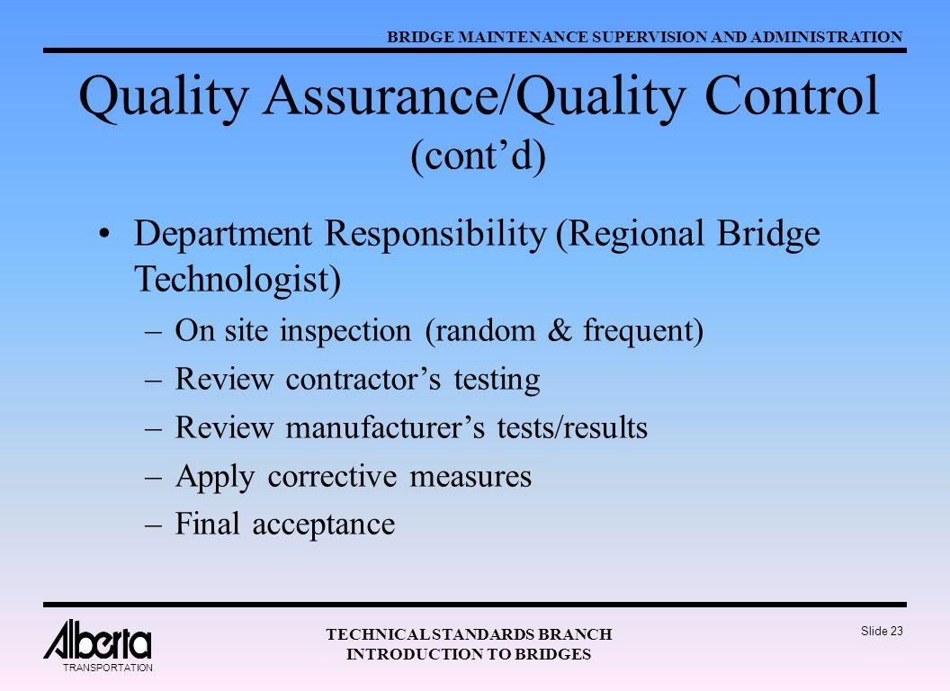 Quality Assurance/Quality Control (cont'd)