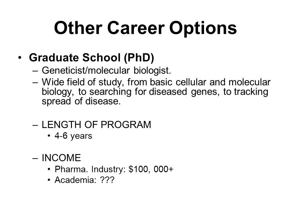 Other Career Options Graduate School (PhD)
