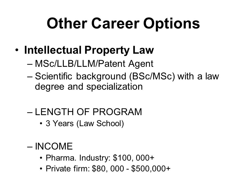 Other Career Options Intellectual Property Law
