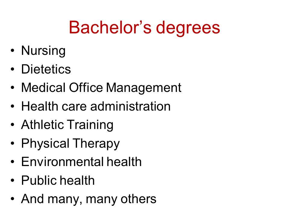 Bachelor's degrees Nursing Dietetics Medical Office Management