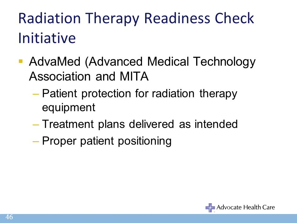 Radiation Therapy Readiness Check Initiative