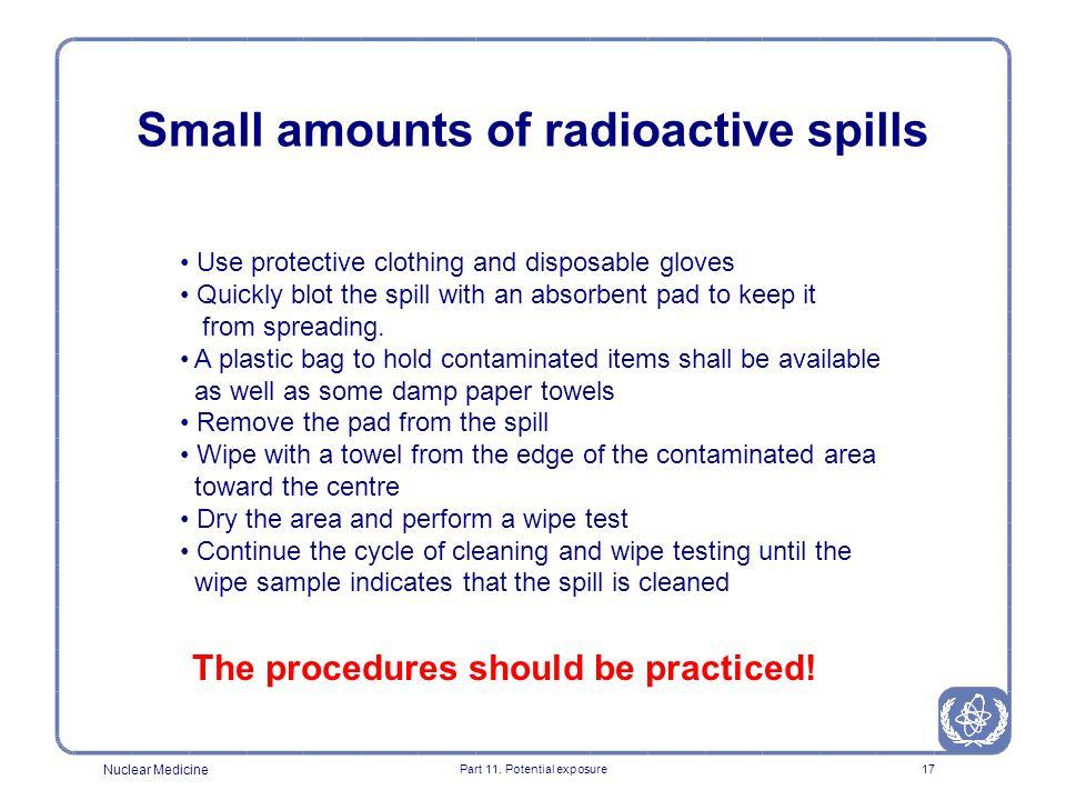 Small amounts of radioactive spills