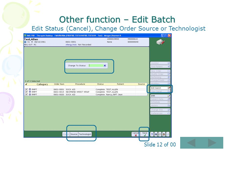 Other function – Edit Batch
