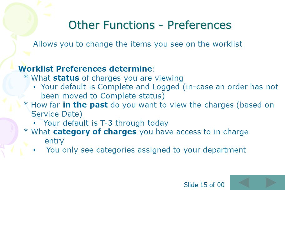 Other Functions - Preferences