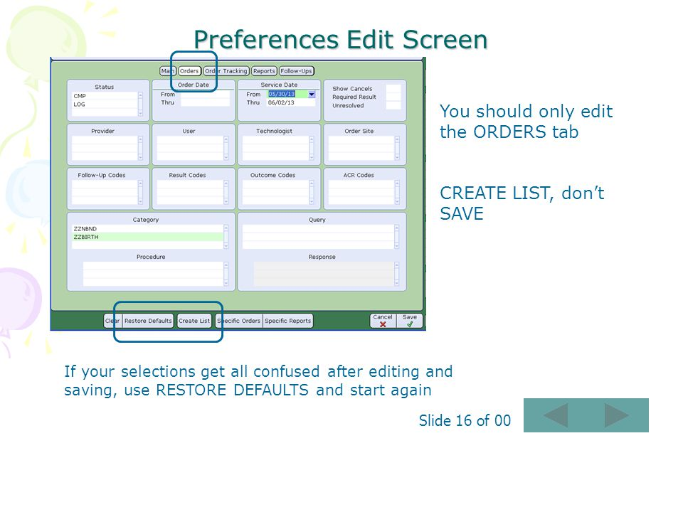 Preferences Edit Screen