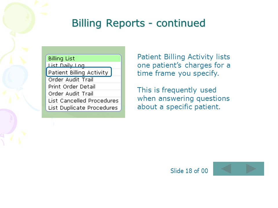Billing Reports - continued
