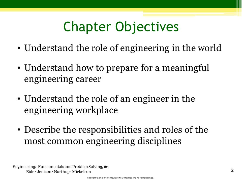 Chapter Objectives Understand the role of engineering in the world