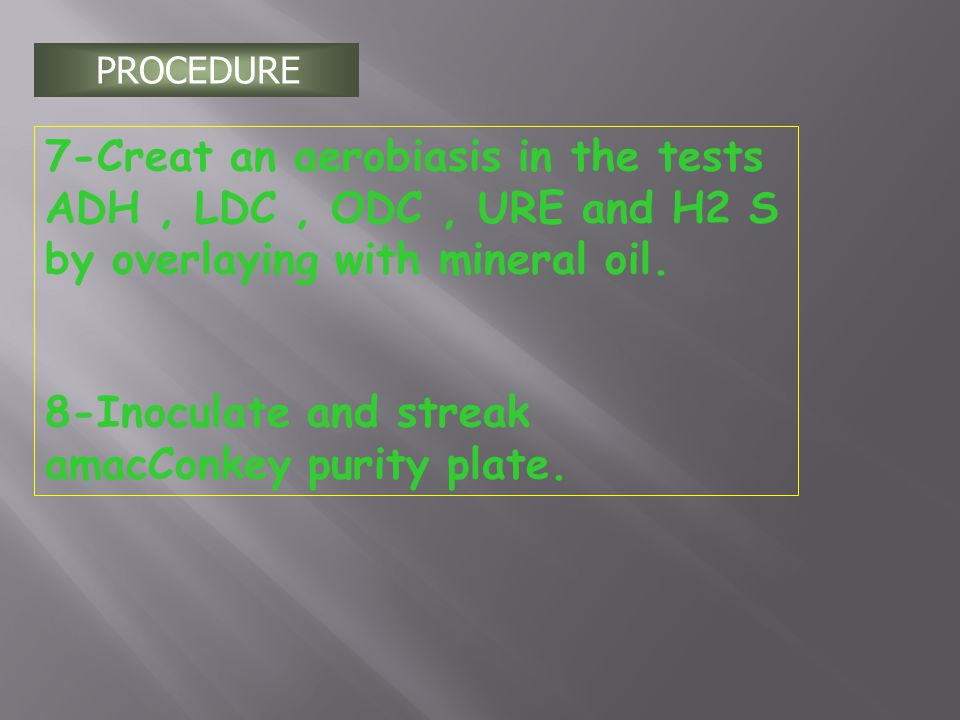 8-Inoculate and streak amacConkey purity plate.