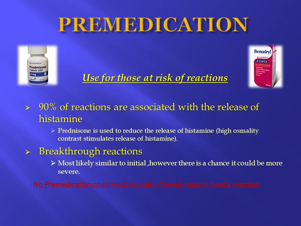 Use for those at risk of reactions