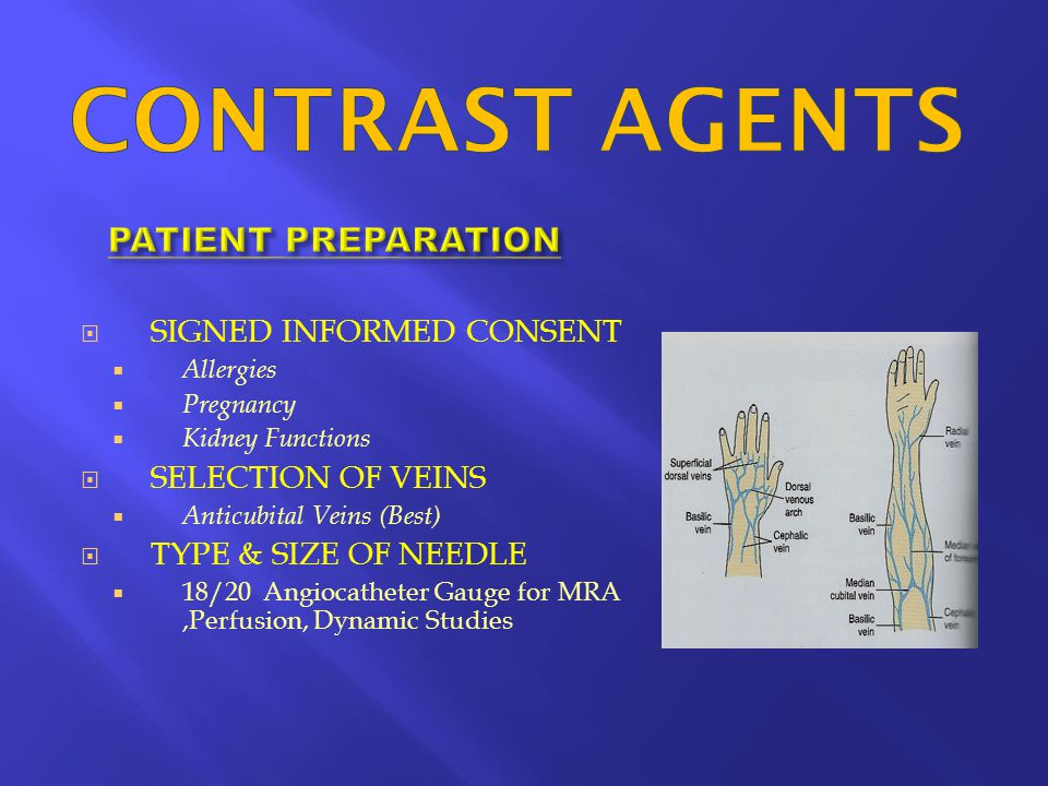 CONTRAST AGENTS PATIENT PREPARATION SIGNED INFORMED CONSENT