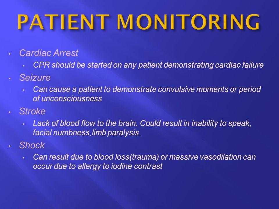 PATIENT MONITORING Cardiac Arrest Seizure Stroke Shock