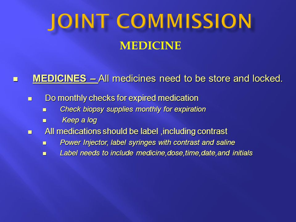 JOINT COMMISSION MEDICINE