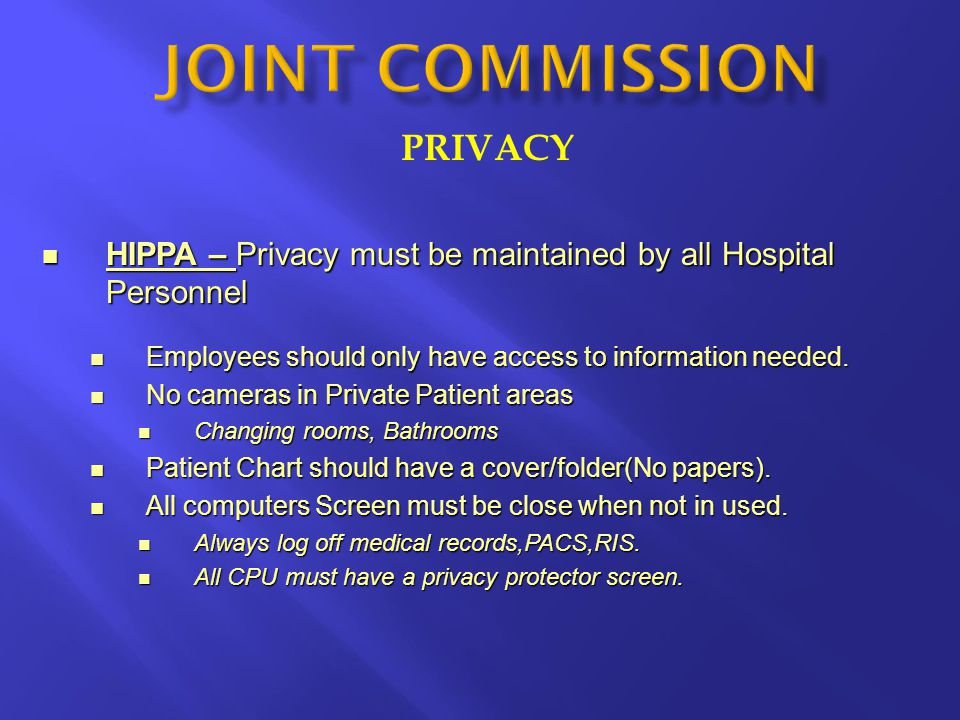JOINT COMMISSION PRIVACY