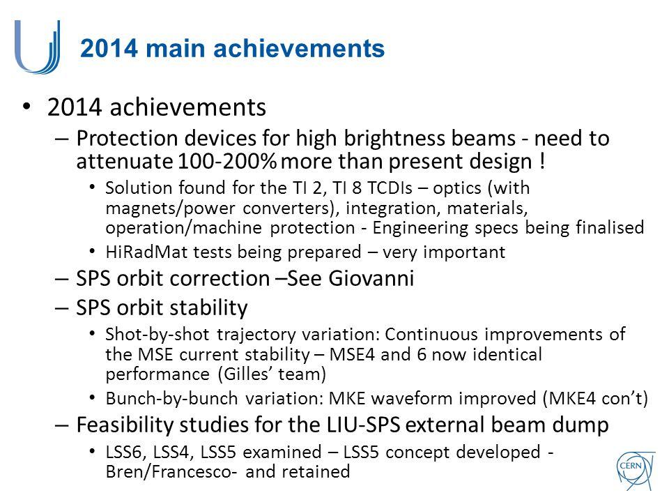 2014 achievements 2014 main achievements