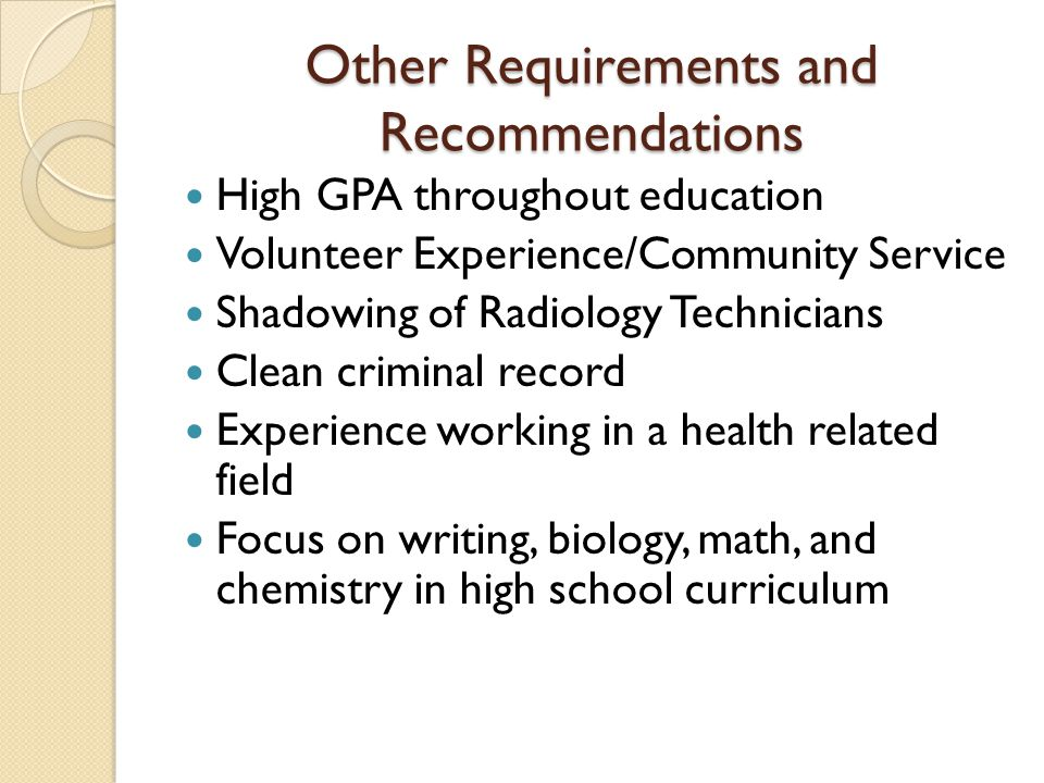 Other Requirements and Recommendations