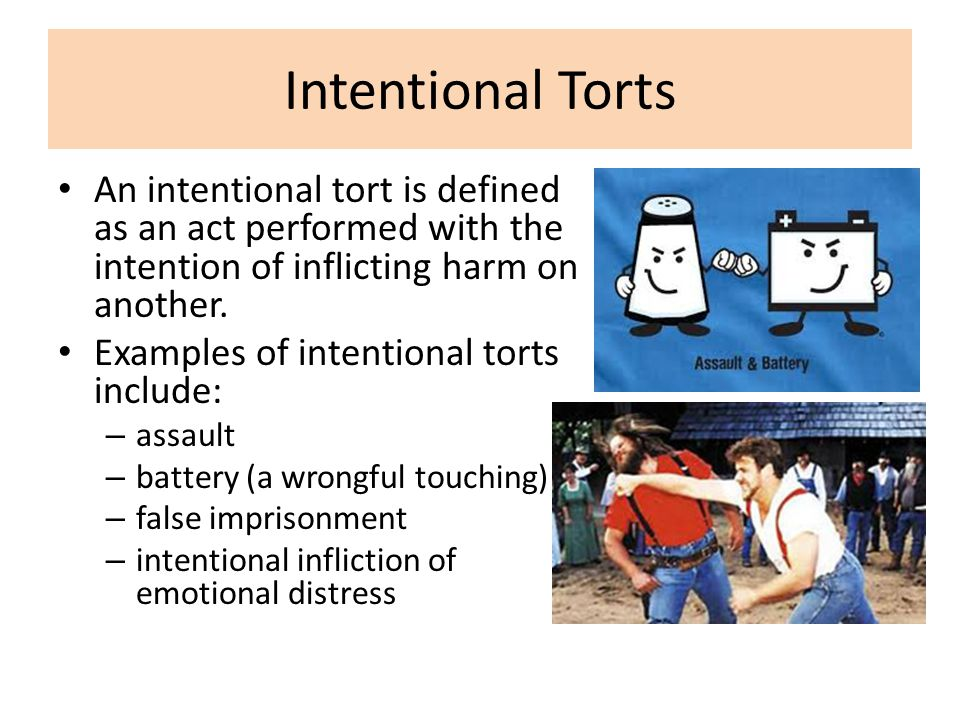Intentional Torts An intentional tort is defined as an act performed with the intention of inflicting harm on another.