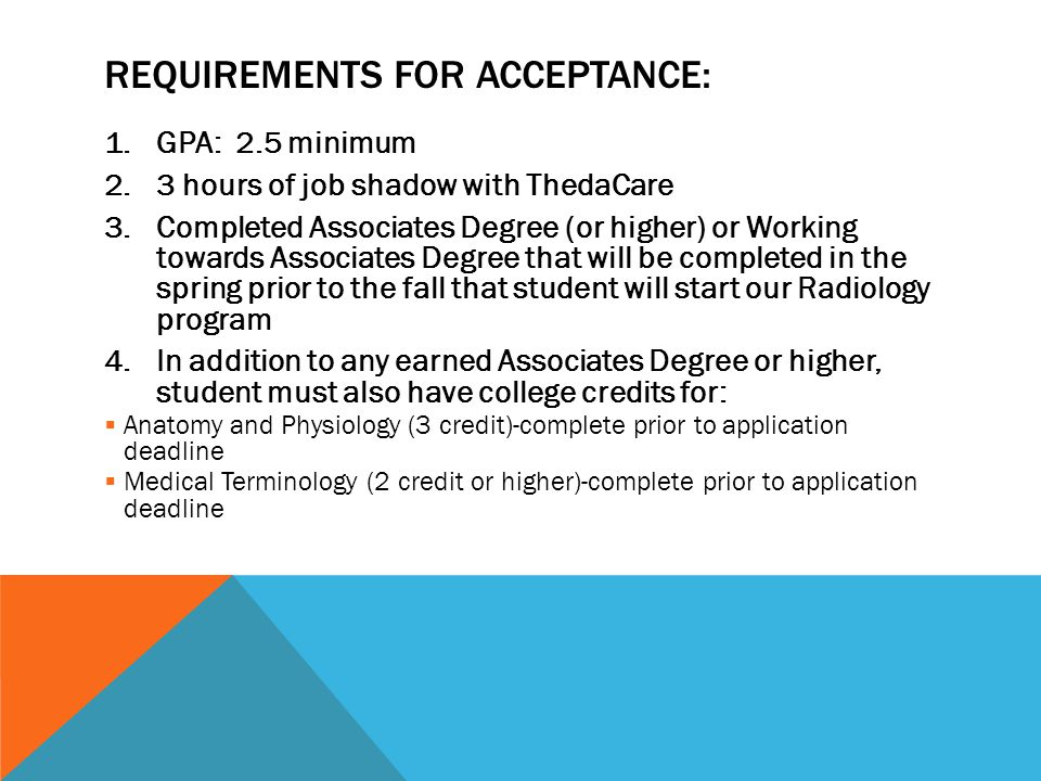 Requirements for Acceptance: