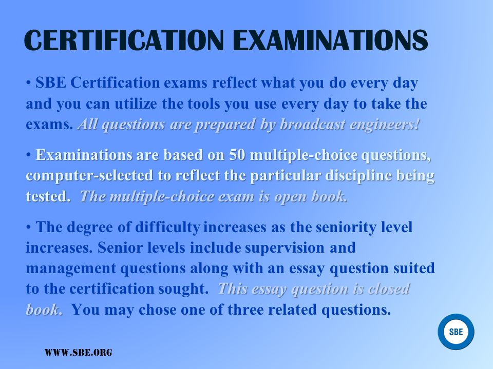 CERTIFICATION EXAMINATIONS