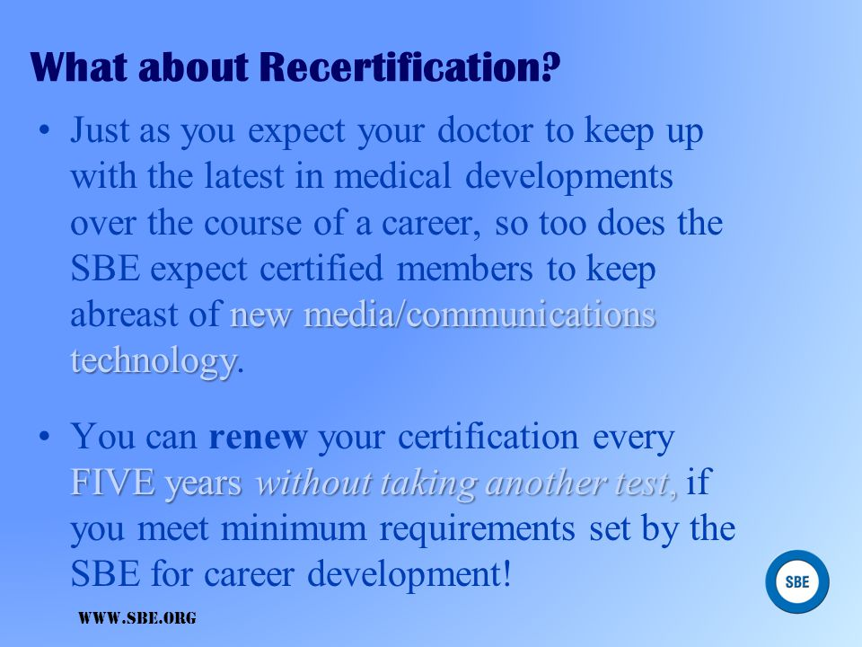What about Recertification