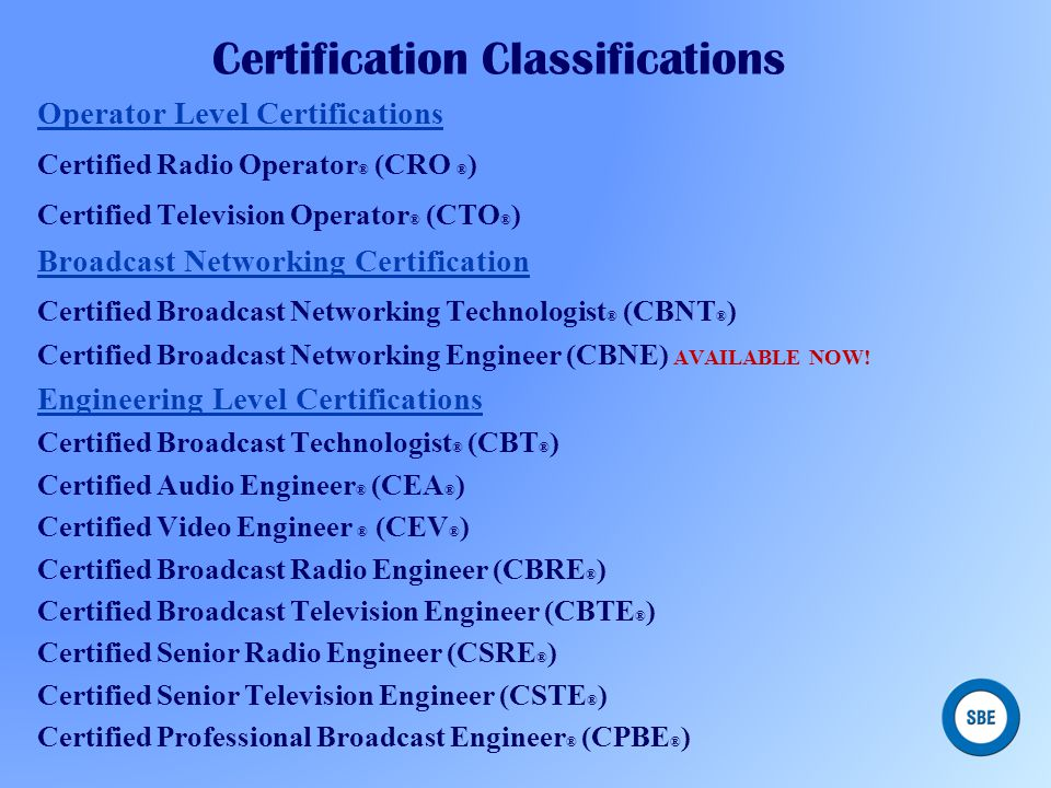 Certification Classifications