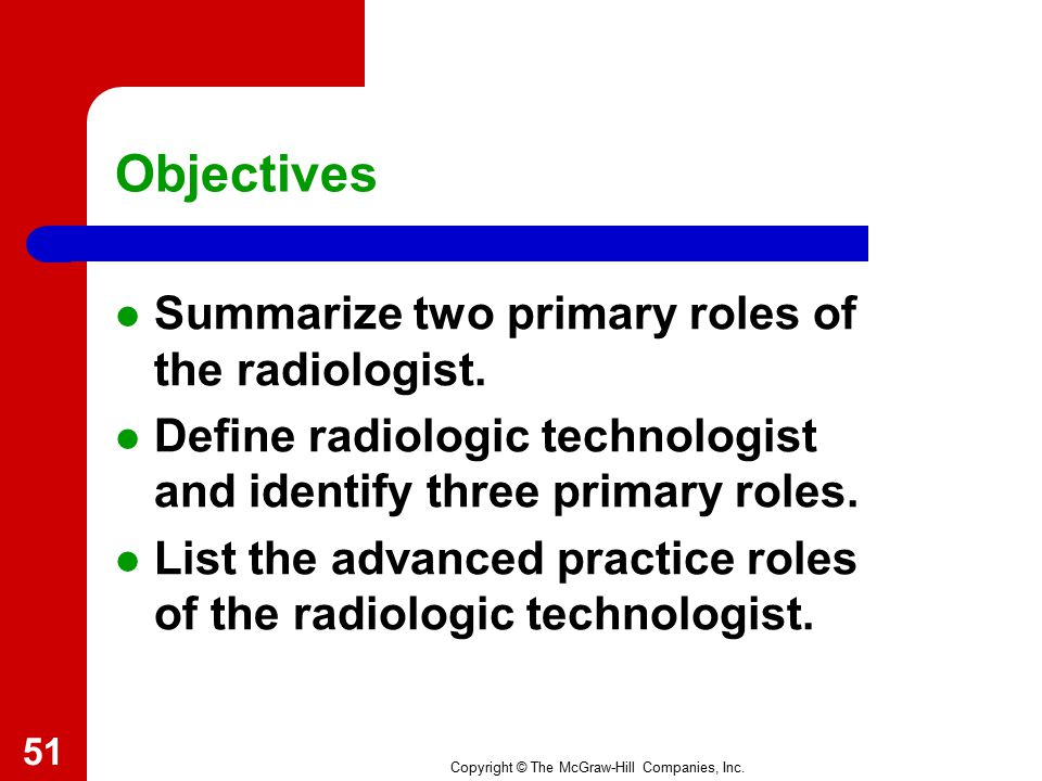 Objectives Summarize two primary roles of the radiologist.