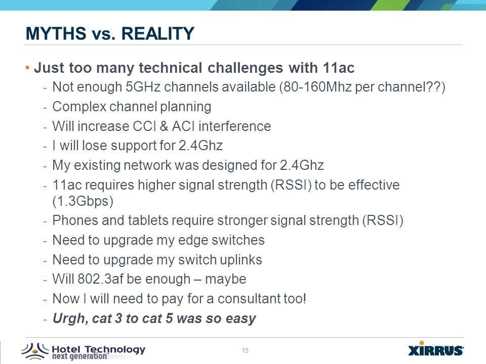 Myths vs. reality Just too many technical challenges with 11ac