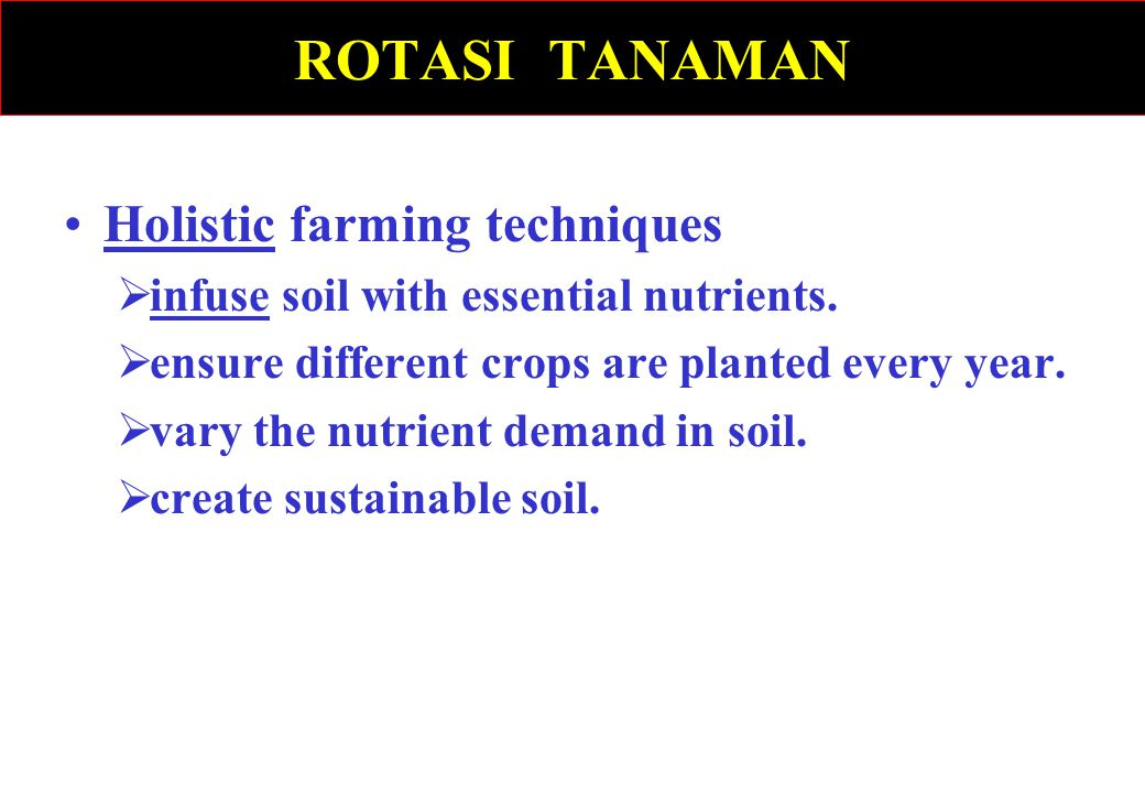 ROTASI TANAMAN Holistic farming techniques