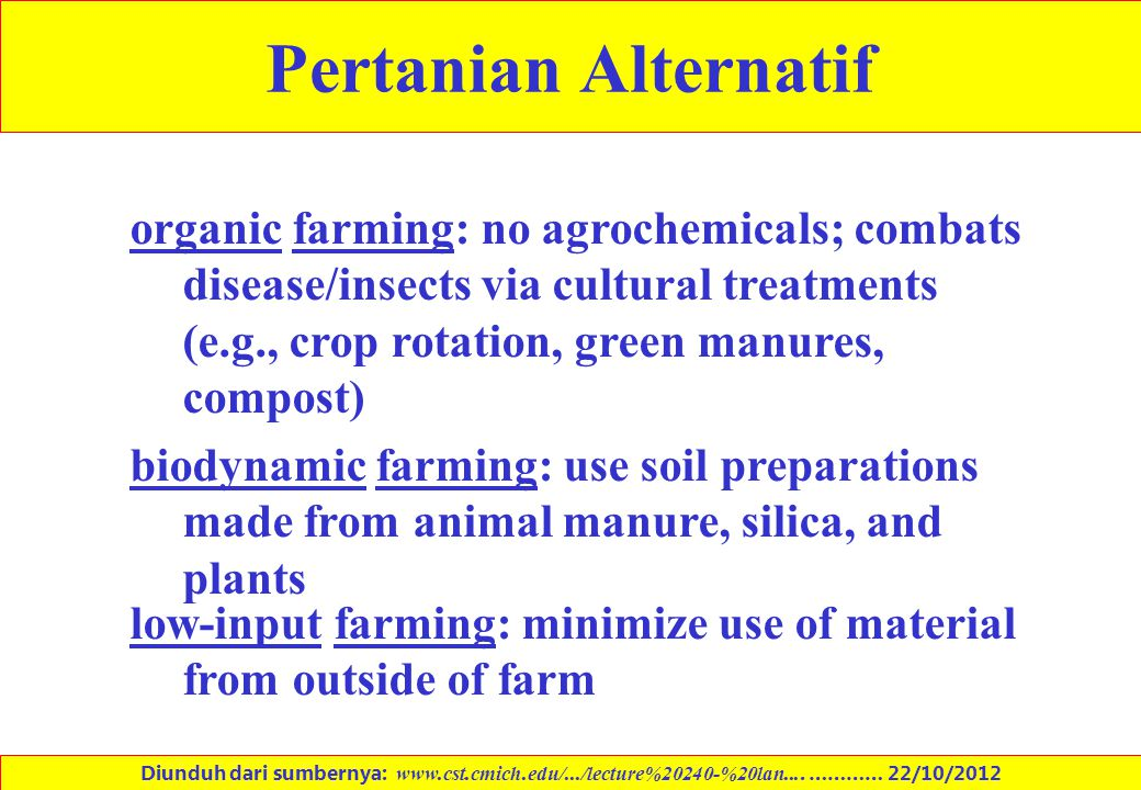 Pertanian Alternatif organic farming: no agrochemicals; combats disease/insects via cultural treatments (e.g., crop rotation, green manures, compost)
