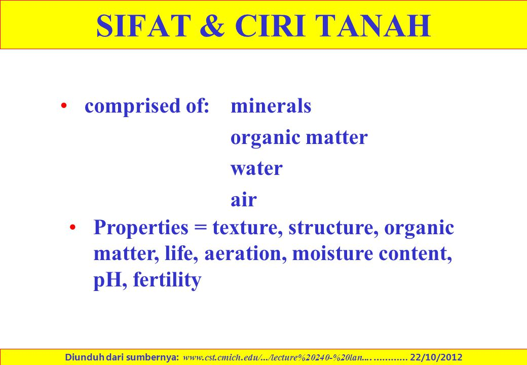 SIFAT & CIRI TANAH comprised of: minerals organic matter water air