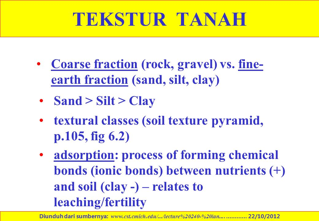 TEKSTUR TANAH Coarse fraction (rock, gravel) vs. fine-earth fraction (sand, silt, clay) Sand > Silt > Clay.