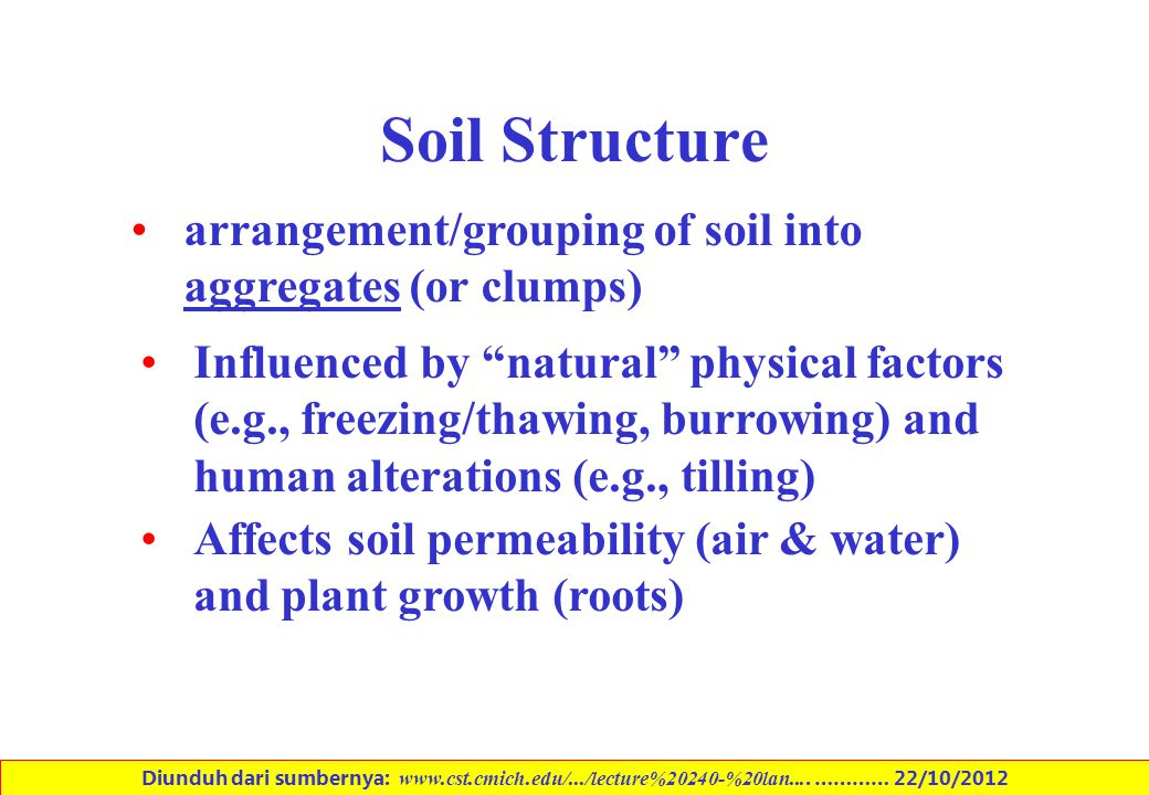 Soil Structure arrangement/grouping of soil into aggregates (or clumps)
