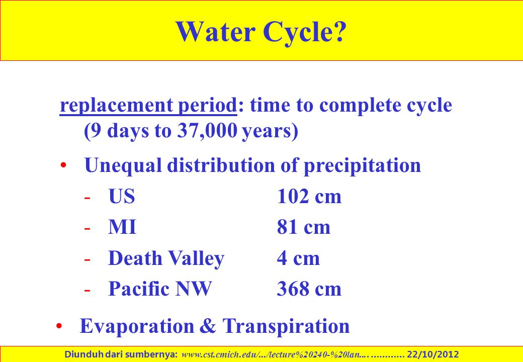 Water Cycle replacement period: time to complete cycle (9 days to 37,000 years) Unequal distribution of precipitation.
