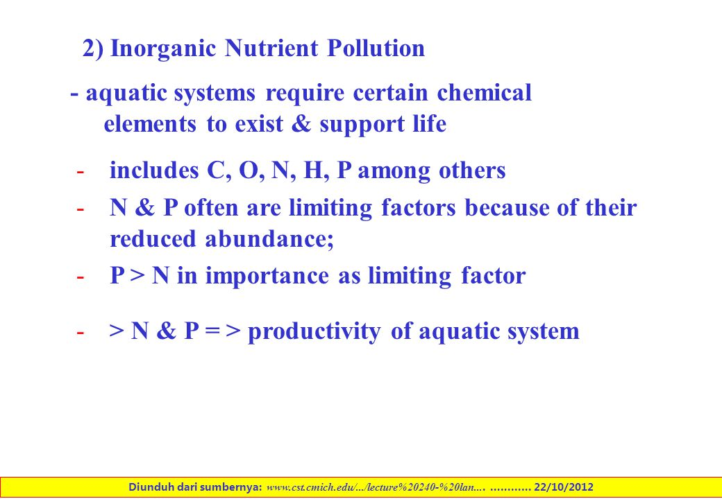 2) Inorganic Nutrient Pollution