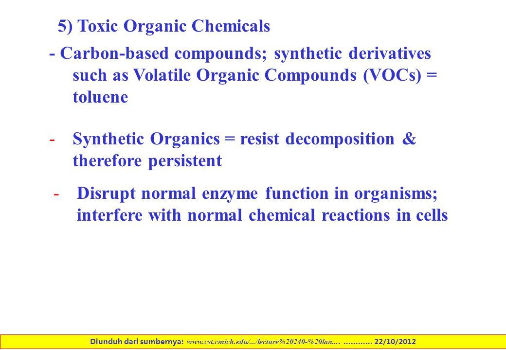 5) Toxic Organic Chemicals