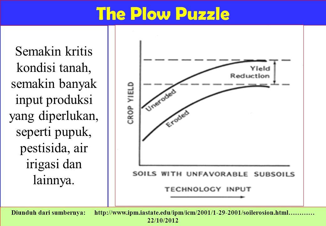 The Plow Puzzle Semakin kritis kondisi tanah, semakin banyak input produksi yang diperlukan, seperti pupuk, pestisida, air irigasi dan lainnya.