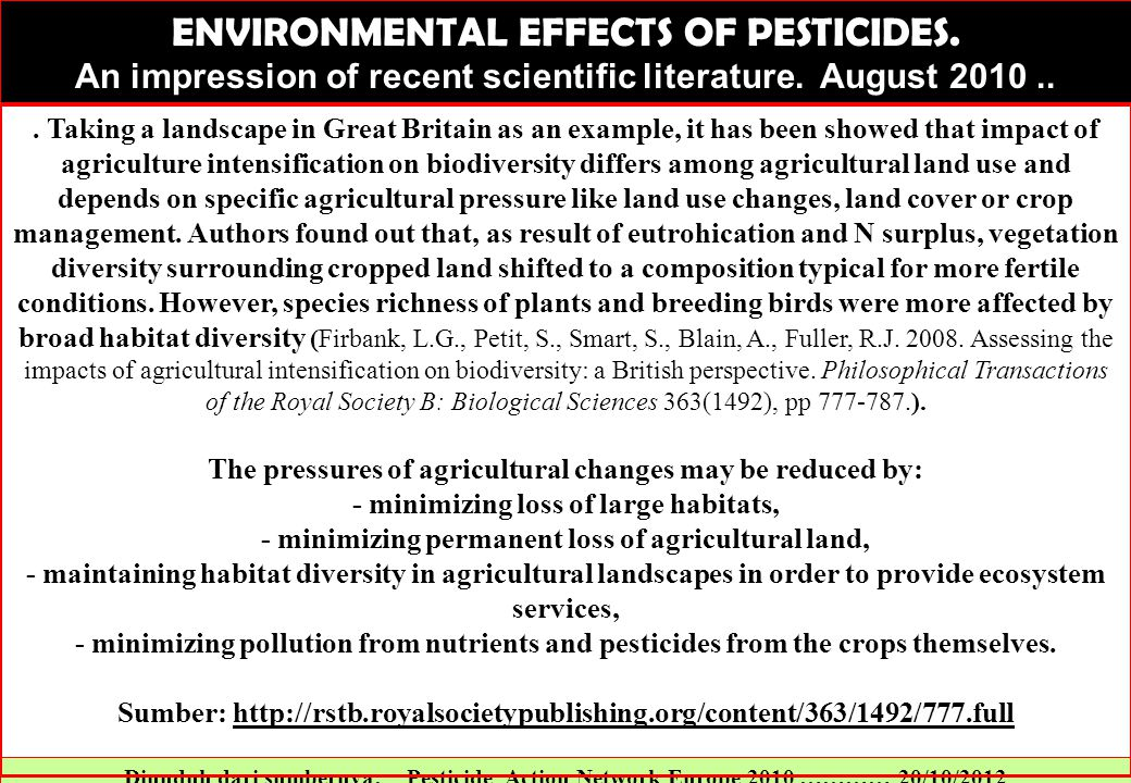 ENVIRONMENTAL EFFECTS OF PESTICIDES.